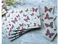Vintage Butterflies Placemat & Coaster Set (NEW)