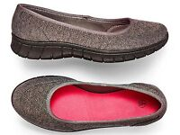 Grey Ballet Style Fabric Slip-Ons (NEW)