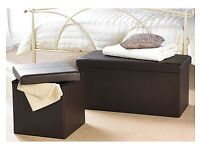 Choc Double F/Leather Ottoman