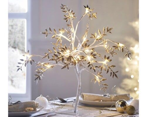 Tabletop gold tree ornament with led lights