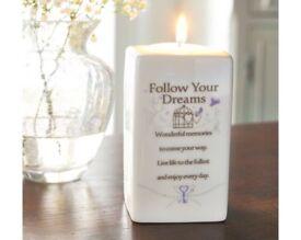🔥 CERAMIC TEA LIGHT HOLDER FOLLOW YOUR DREAMS