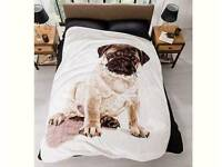 Pug Print Fleece Throw