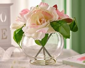 Peony Flowers In A Glass Vase