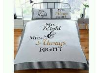 Mr right Mrs always right bedding set