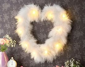 Beautiful LED feather heart. - Home decor.