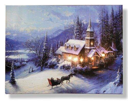 LED Sleigh Ride Christmas Canvas (H40 x W30cm) (NEW)