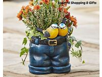 Jeans Planter With Birds - New