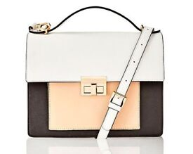 Leather Colour Block Satchel