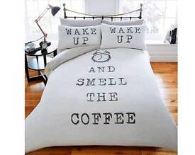 Wake up & smell the coffee duvet cover single double king size