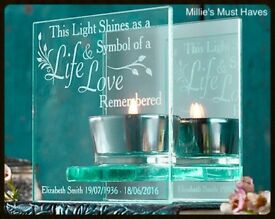 Personalised Life & Love Memorial Glass Tea Light. New.
