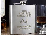 Personalised 'The World's Greatest ' Hipflask (NEW)