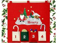 Personalised Tartan Santa Felt Advent Calender