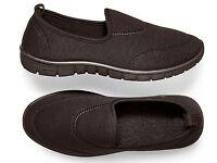 Black Marl Fabric Slip-Ons (NEW)
