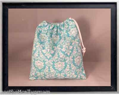 Gymnastics Leotard Grip Bags / Tiny Turquoise Damask Gymnast Birthday Goody Bag