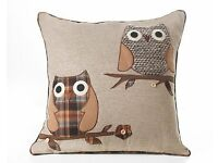 BRAND NEW Owl Applique Filled Cushions