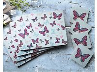 Vintage Butterflies Placemats and coaster set