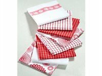 Pack of 8 Red Tea Towels (L66 x W45cm) (NEW)