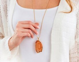 GOLD PLATED AGATE PENDANT
