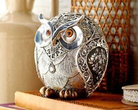 Silver Rose Owl Ornament