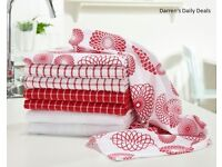 Pack Of 8 Tea Towels - Red