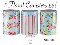 SET OF 3 FLORAL CANISTERS!