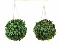 Set of 2 Garden Holly Balls