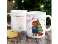 Personalised Paddington Bear Christmas Mugs