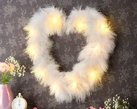 White LED Feather Heart