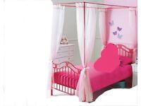 Single 4 Poster Metal Bed Frame with butterflies - Pink