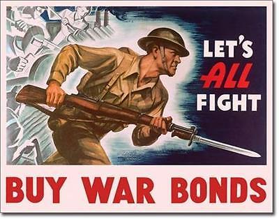 War Bonds USA Army Vintage Style Metall Deko Schild