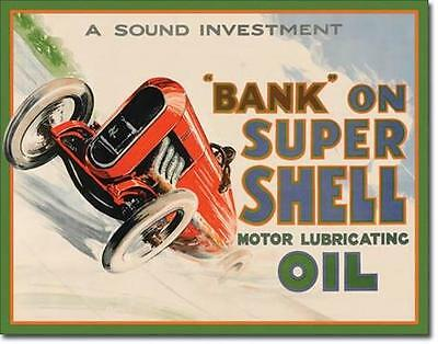 Shell Motor Oil - Vintage Auto Motorsport Rennsport USA Metall Plakat