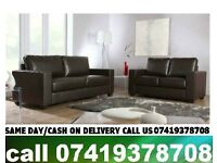 Mishal Best Quality Leather 3 AND 2 SEATER SOFA SUITE Black / Brown