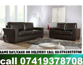 RAWQ Three and Two Leather Sofa in Black/Brown Color