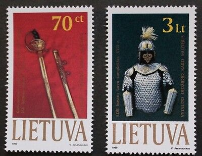 Exhibits in Vytautas Magnus war museum stamps, sword, armour 1999 Lithuania, MNH
