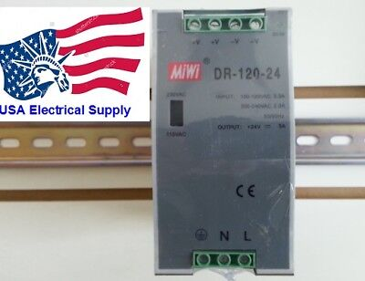 New Mean Well Replacement DR-120-24 120W LED DIN RAIL Power Supply AC/DC 24V 5A