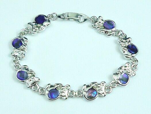Purple Koala Small Bears Bracelet genuine Paua Shell inlay 7 inch
