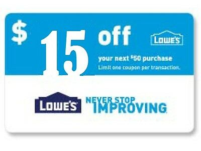 (2) Lowes $15 Off $50 In-Store & Online-Coupons-Instant-Delivery Exp. 03/14/17