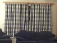 BLUE AND CREAM CURTAINS + POLES + CUSHION COVERS, VG QUALITY, VGC