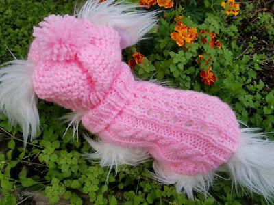 Pink Dog Knit Sweater - XS handmade knit pink dog sweater&hat set