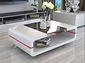 MODERN HIGH GLOSS WHITE COFFEE TABLE WITH BLACK GLASS TOP