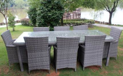 WICKER OUTDOOR DINING FURNITURE SETTING,8 SEATS,VINTAGE GREY