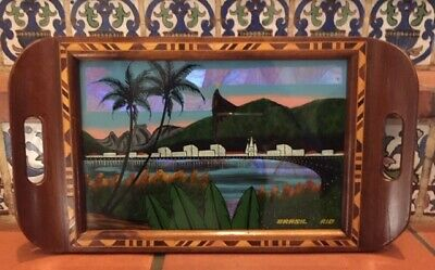 Brasil Rio Tray Inlay Reverse Painting on Glass Souvenir 16.5