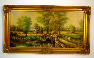 Dipinto a olio cornice barocca fine 800 - Italia - Dipinto a olio cornice barocca fine 800 - Italia
