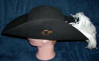 Cavalier/Renaissance/Pirate Hat with pin and Feathers in 5 Colors & 3 Sizes
