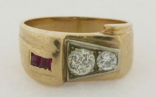 Art Deco 14k Gold Rubies Diamonds Man