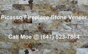 Picasso Fireplace Stone Veneer Beige Fireplace Wall Cladding
