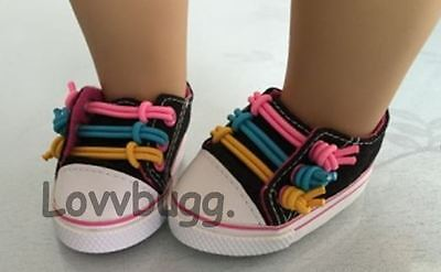 "Lovvbugg Multi-Color Laces Sneakers for 18"" American Girl or Bitty Baby Doll Shoes"