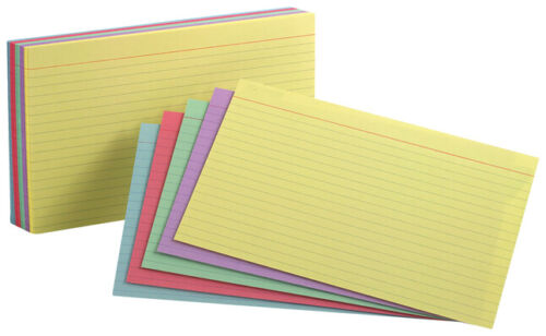 Oxford Index Cards, Assorted Colors, 5 x 8, Ruled, 100-Pack