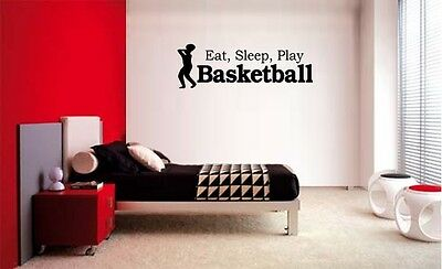 (EAT SLEEP PLAY BASKETBALL LETTERING DECAL WALL VINYL DECOR STICKER ROOM SPORTS)