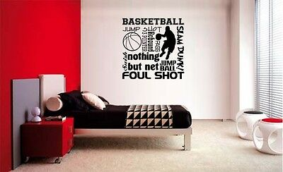 BASKETBALL COLLAGE SUBWAY LETTERING DECAL WALL VINYL DECOR STICKER ROOM SPORTS ](Sports Room Decor)